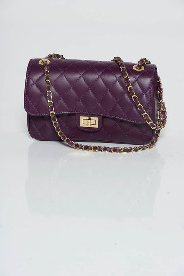 Purple bag natural leather long chain handle