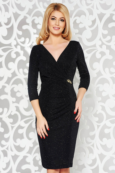 Black occasional pencil dress from elastic fabric with inside lining with bright details
