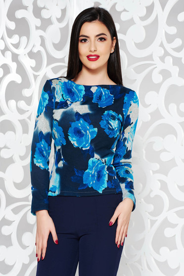 StarShinerS blue casual sweater with tented cut knitted fabric