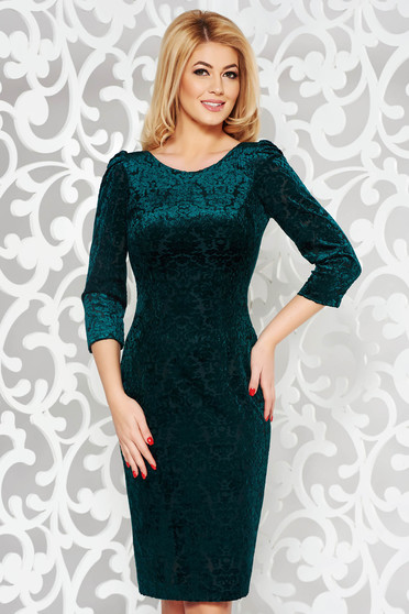 Green occasional pencil dress from velvet fabric with inside lining raised pattern