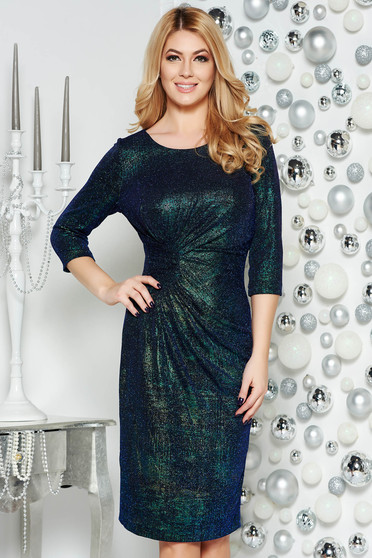 Green occasional pencil dress from elastic fabric with inside lining shimmery metallic fabric