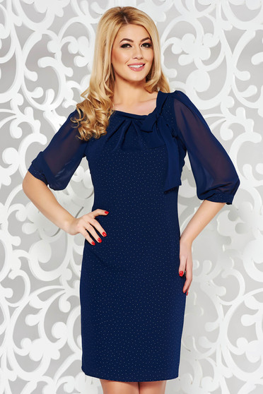 Darkblue dress elegant flared voile fabric with inside lining with bright details