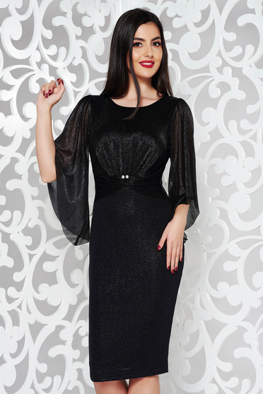 Black dress occasional pencil from shiny fabric with inside lining with pearls