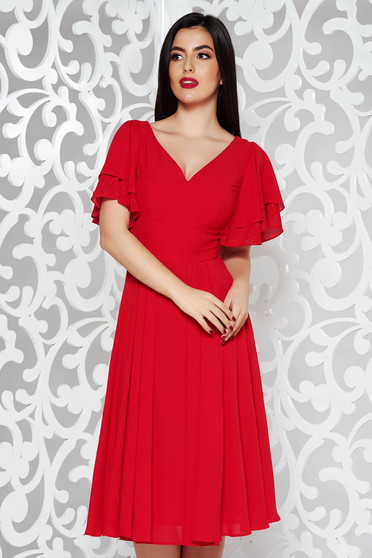 Red dress occasional cloche voile fabric with inside lining with v-neckline