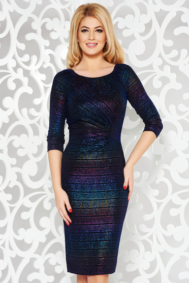 Darkblue dress occasional shimmery metallic fabric with inside lining with tented cut with 3/4 sleeves