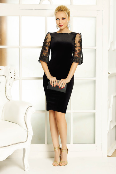 Fofy black dress occasional pencil velvet with cut back