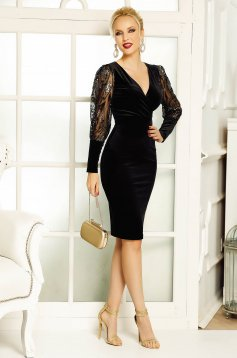 Fofy black occasional midi velvet dress with sequin embellished details with tented cut
