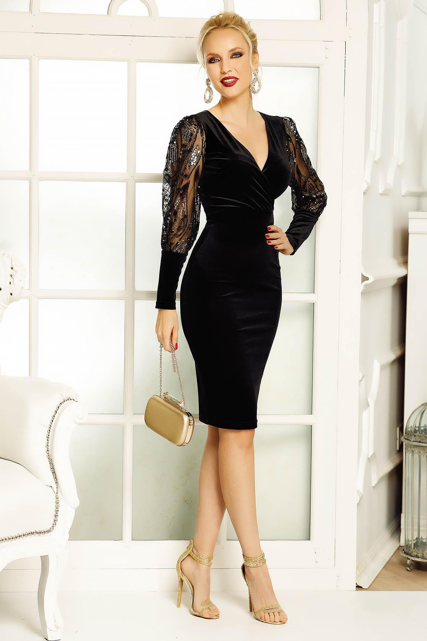 Fofy black dress occasional pencil velvet with sequin embellished details