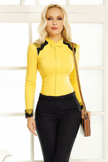 Fofy yellow women`s shirt office with tented cut with lace details