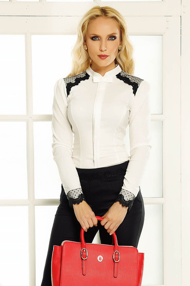 Fofy white women`s shirt office with tented cut with lace details