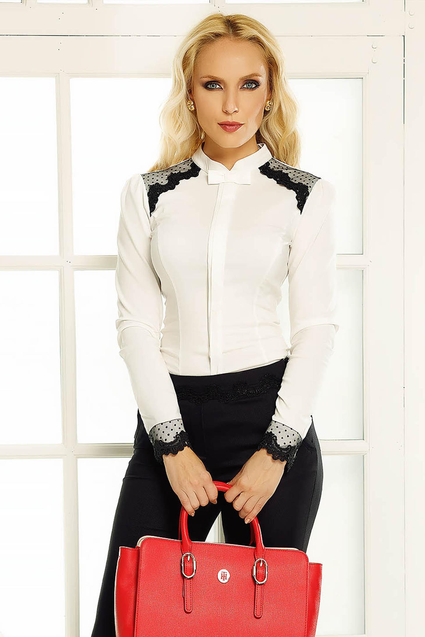 Fehér Fofy irodai női ing szűk szabás csipke díszítéssel 73d720656d