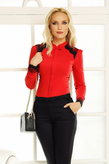 Fofy red women`s shirt office with tented cut with lace details