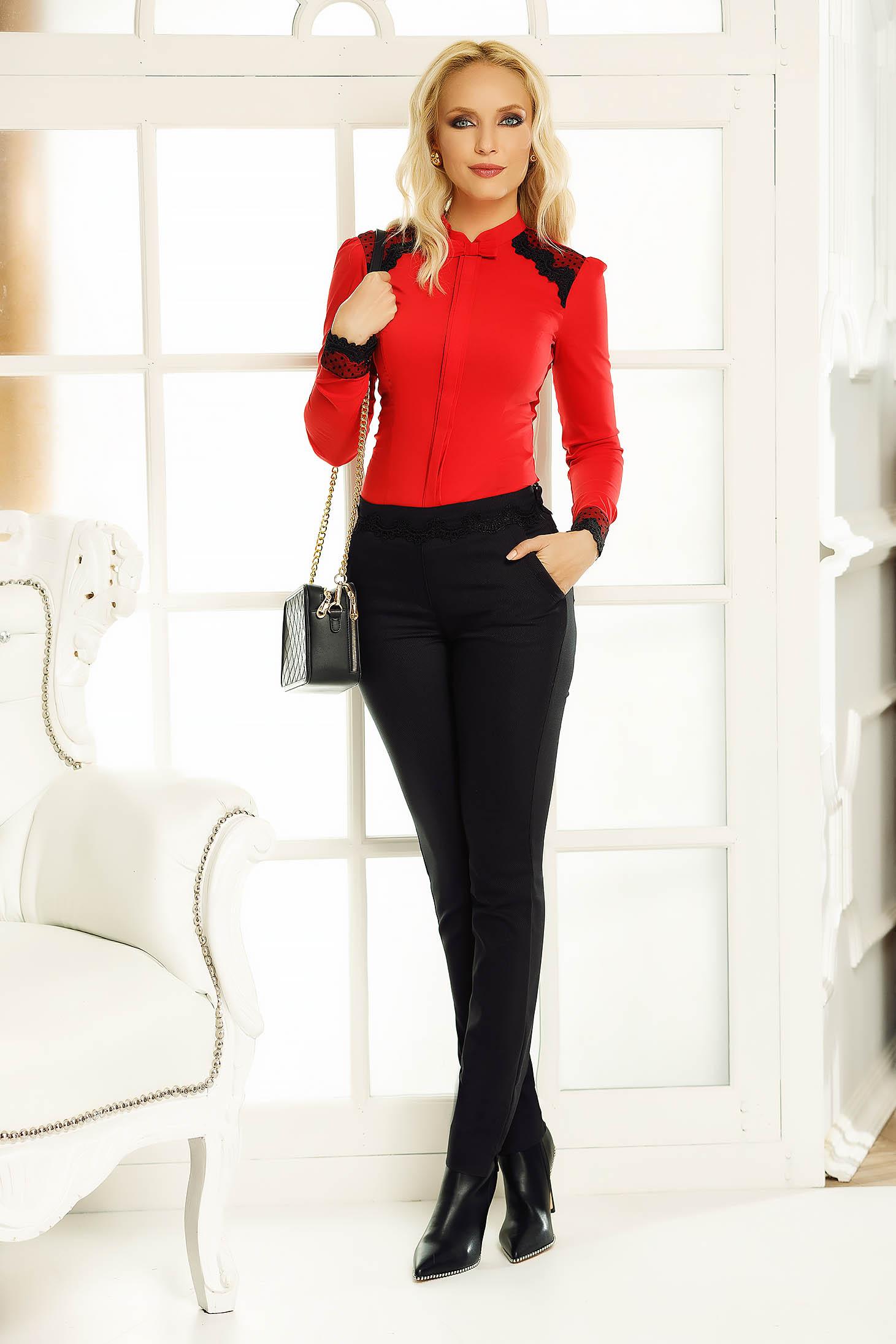Piros Fofy női ing irodai szűk szabás csipke díszítéssel