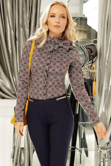 Fofy brown women`s shirt office with tented cut bow accessory