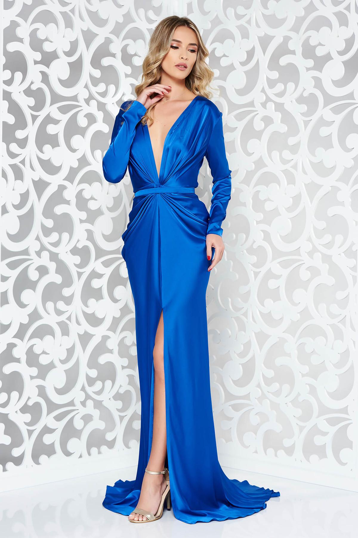 Rochie Ana Radu albastra de lux tip sirena din material satinat cu decolteu adanc accesorizata cu cordon