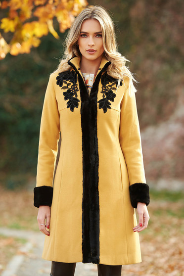 LaDonna mustard elegant wool coat arched cut with faux fur details with embroidery details with inside lining