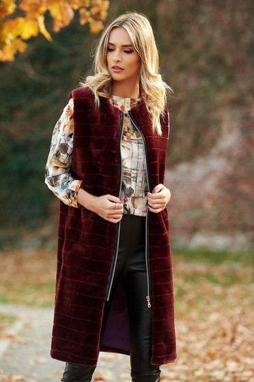 LaDonna burgundy casual gilet from ecological fur with inside lining
