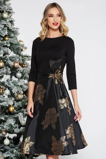 Artista gold midi occasional cloche dress with inside lining bow accessory