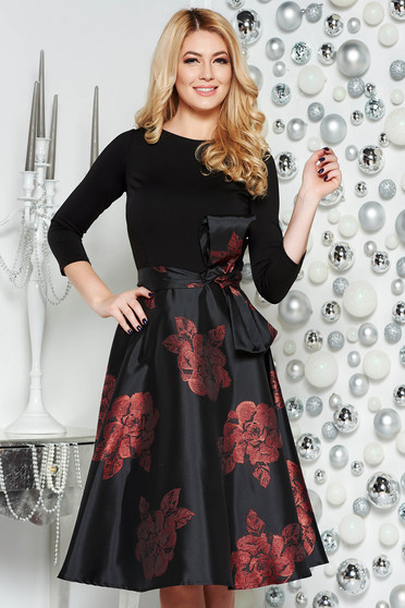 Artista burgundy midi occasional cloche dress with inside lining bow accessory