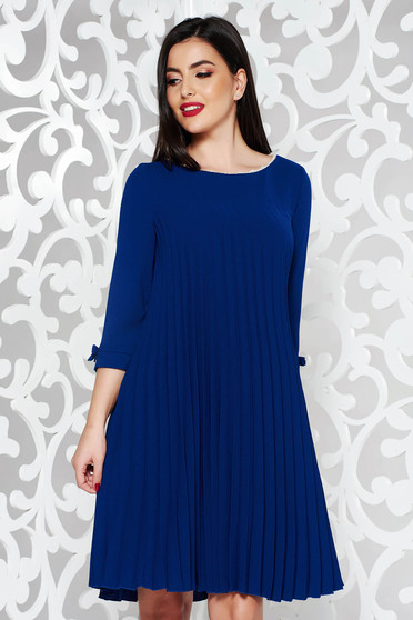 Blue dress elegant flared from non elastic fabric folded up with pearls