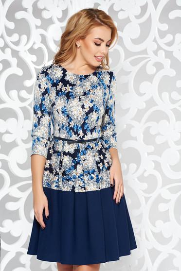 Darkblue dress cloche daily midi slightly elastic fabric accessorized with tied waistband