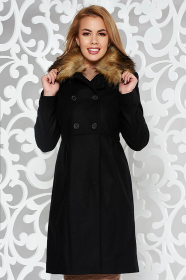 Black elegant wool coat with inside lining with pockets with faux fur accessory