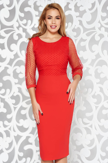 Red dress elegant pencil slightly elastic fabric with inside lining transparent sleeves