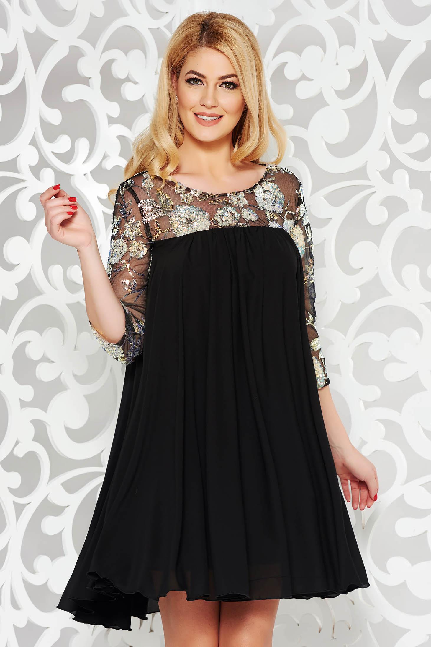 Fekete StarShinerS alkalmi bő szabású ruha fátyol belső béléssel flitteres  díszítés 5f8ed9b702
