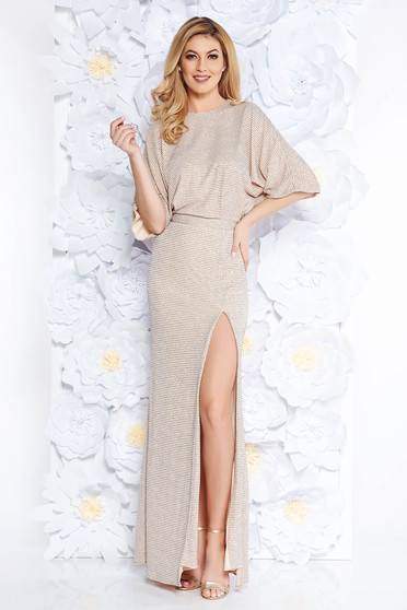 Cream occasional mermaid dress shimmery metallic fabric with inside lining with cut back