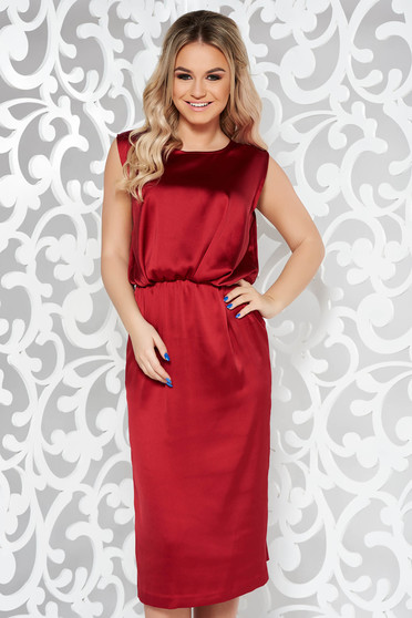 Burgundy occasional midi sleeveless dress from satin fabric texture with elastic waist