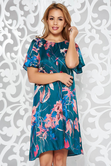 Green elegant flared dress airy fabric with floral prints
