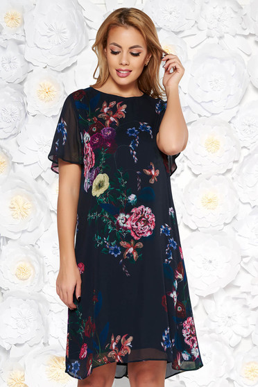 Black elegant flared dress airy fabric with floral prints