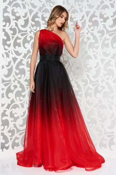 Ana Radu red one shoulder cloche luxurious dress with inside lining long accessorized with tied waistband