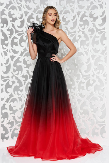 Ana Radu red luxurious long cloche dress with inside lining accessorized with tied waistband one shoulder