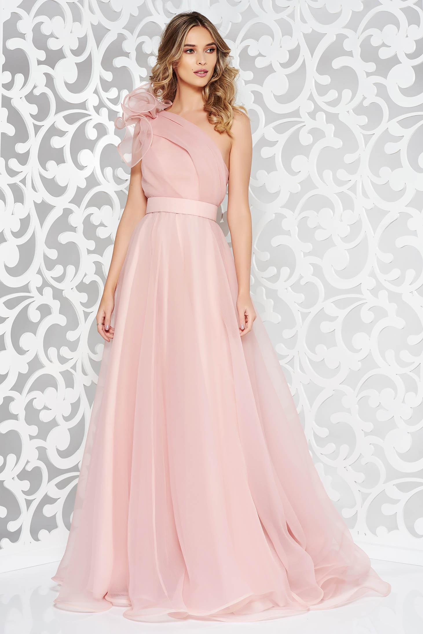 Rózsaszínű Ana Radu egy vállas alkalmi ruha belső béléssel övvel ellátva 37eb1f9545