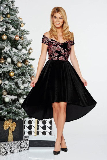 StarShinerS black occasional asymmetrical velvet dress with sequins with inside lining off shoulder