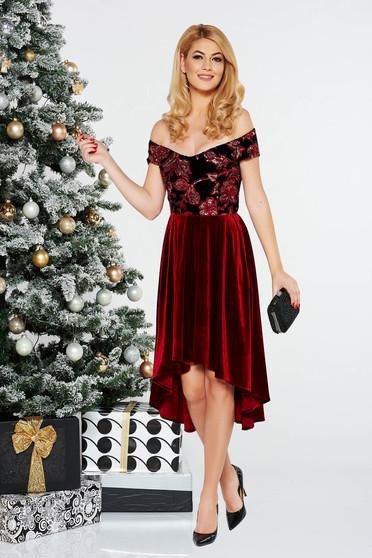 StarShinerS red occasional asymmetrical velvet dress with sequins with inside lining off shoulder
