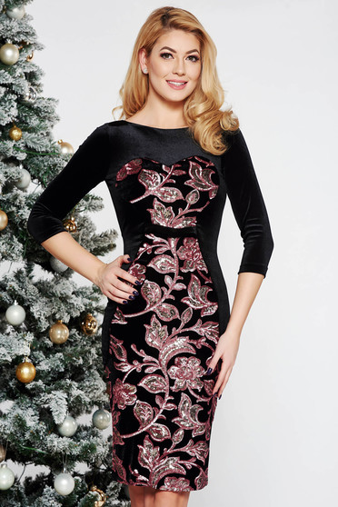 StarShinerS black occasional velvet dress with sequins with inside lining with tented cut