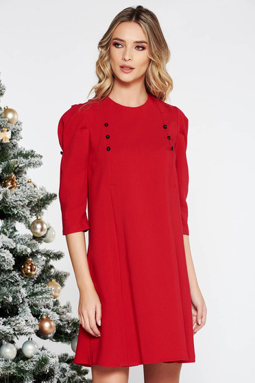Red daily flared with 3/4 sleeves dress slightly elastic fabric with button accessories