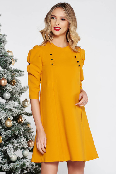 Mustard daily flared with 3/4 sleeves dress slightly elastic fabric with button accessories