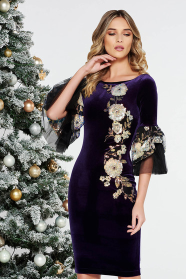 StarShinerS purple occasional dress with tented cut velvet with sequins with bell sleeve