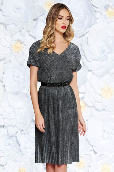 StarShinerS black occasional dress from shiny fabric with inside lining accessorized with tied waistband with embellished accessories