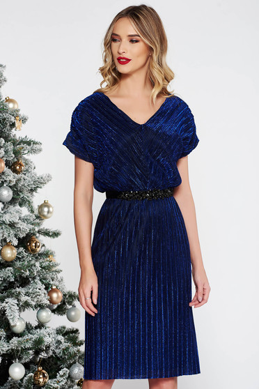 StarShinerS blue occasional dress from shiny fabric with inside lining accessorized with tied waistband and embellished accessories