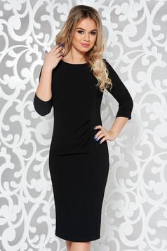Black basic pencil 3/4 sleeve dress slightly elastic fabric