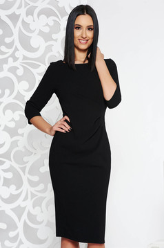 Black basic pencil 3/4 sleeve dress slightly elastic fabric