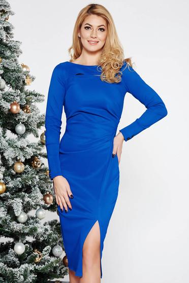 Blue scuba pencil dress long sleeved cut-out bust design