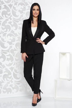 Black elegant from 2 pieces lady set with trousers slightly elastic fabric