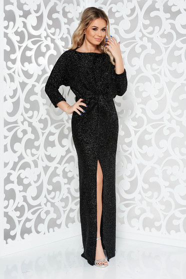Black occasional long 3/4 sleeve dress with tented cut from shiny fabric