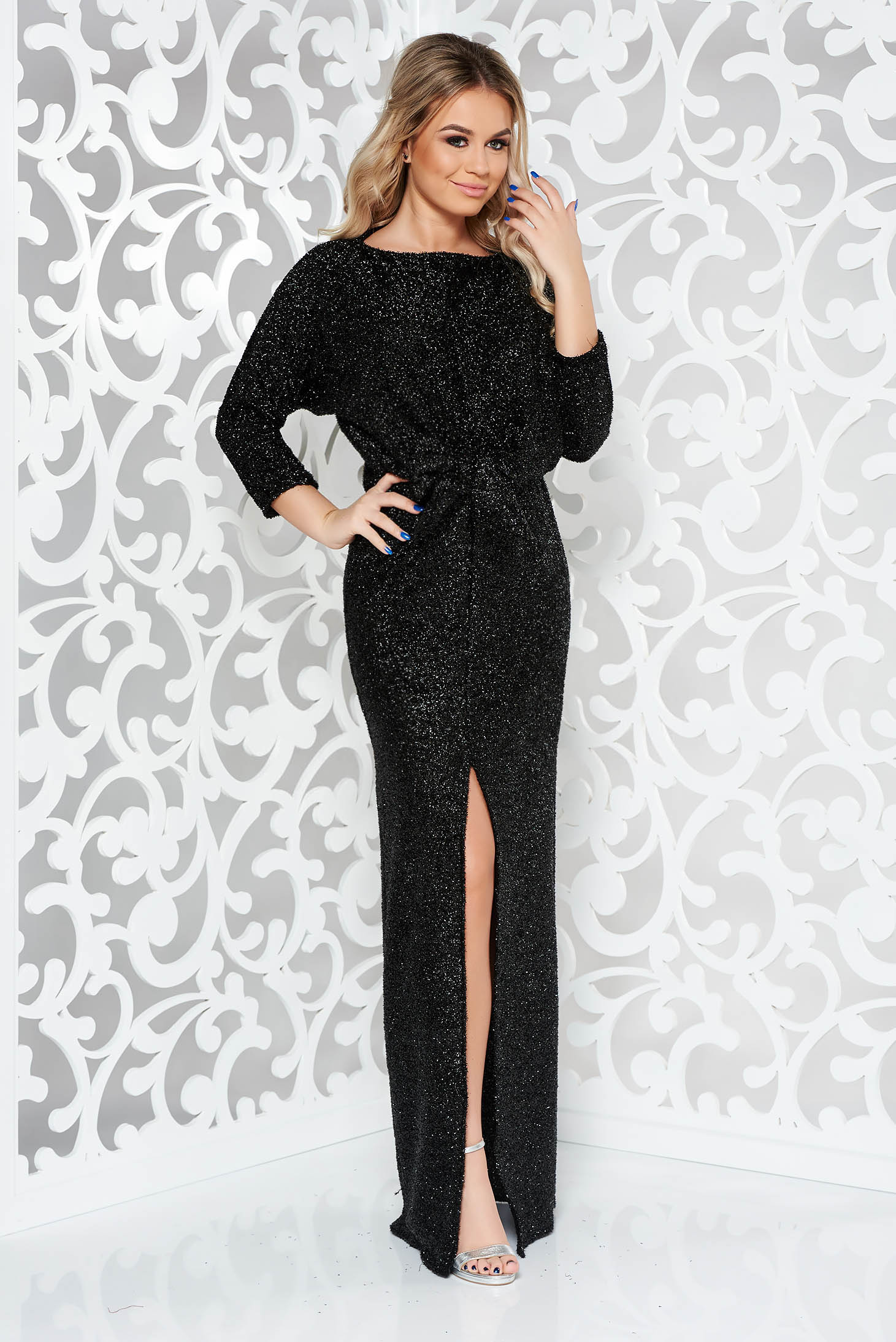 3987707b51 Black occasional long 3/4 sleeve dress with tented cut from shiny fabric