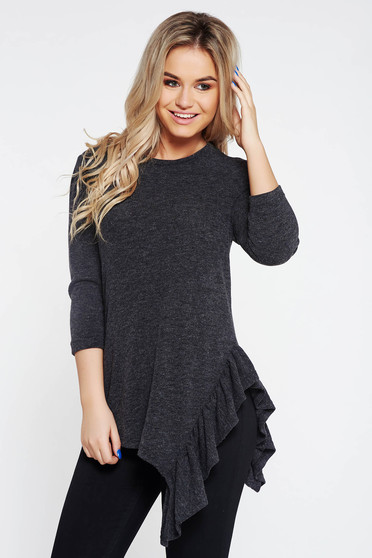 StarShinerS darkgrey casual asymmetrical flared women`s blouse knitted fabric with ruffle details
